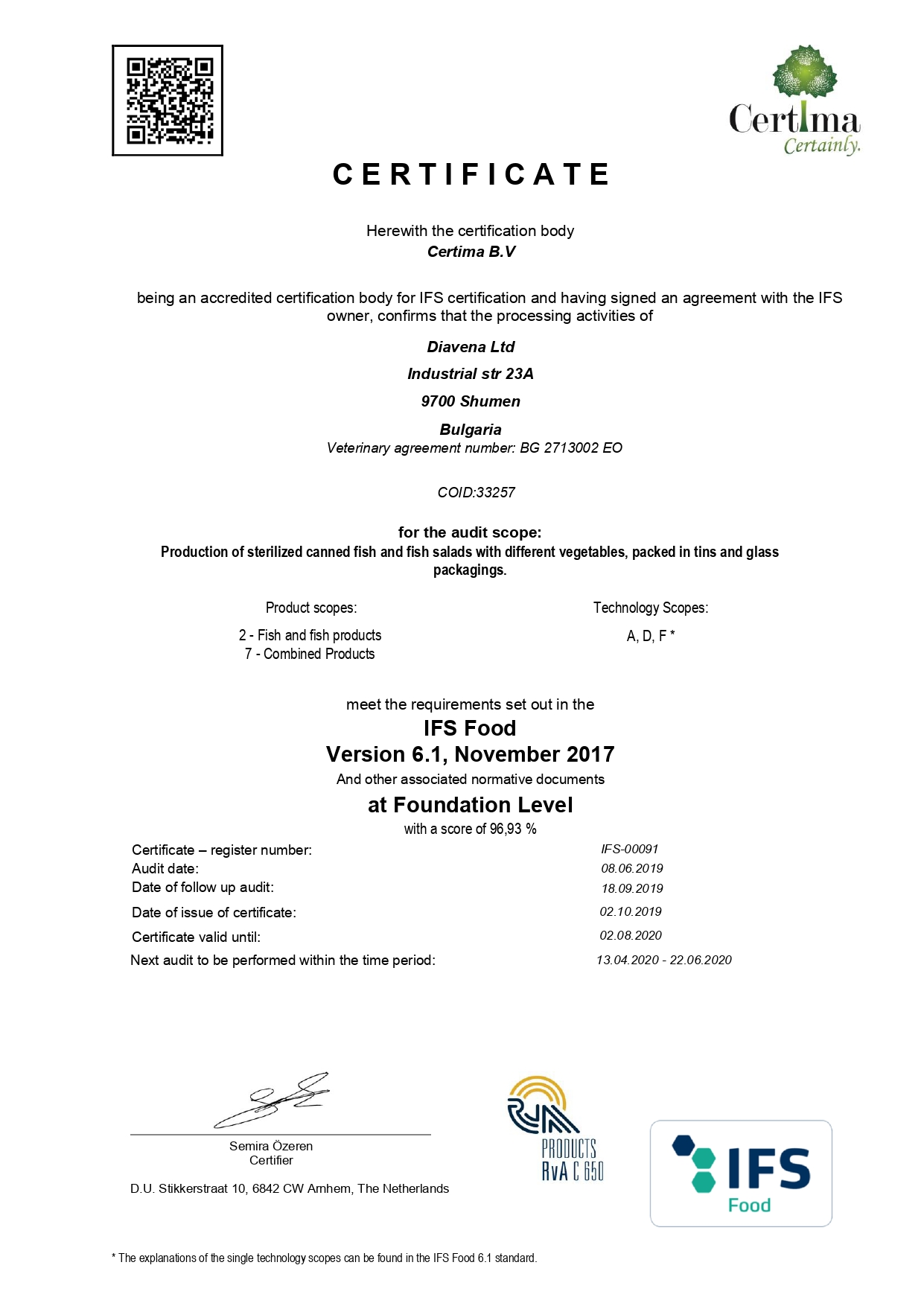 Certificate from Certima B.V
