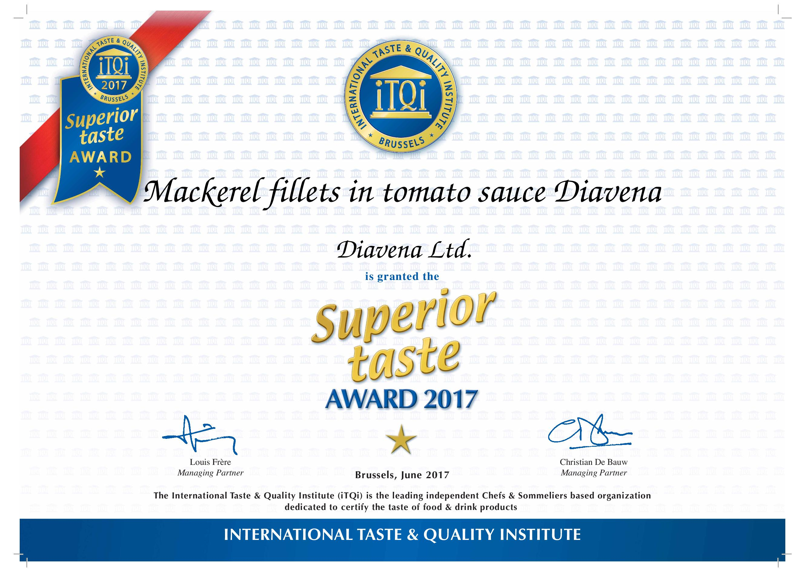 Mackerel fillets in tomato sauce Diavena - Superior taste award - 1 Golden Star