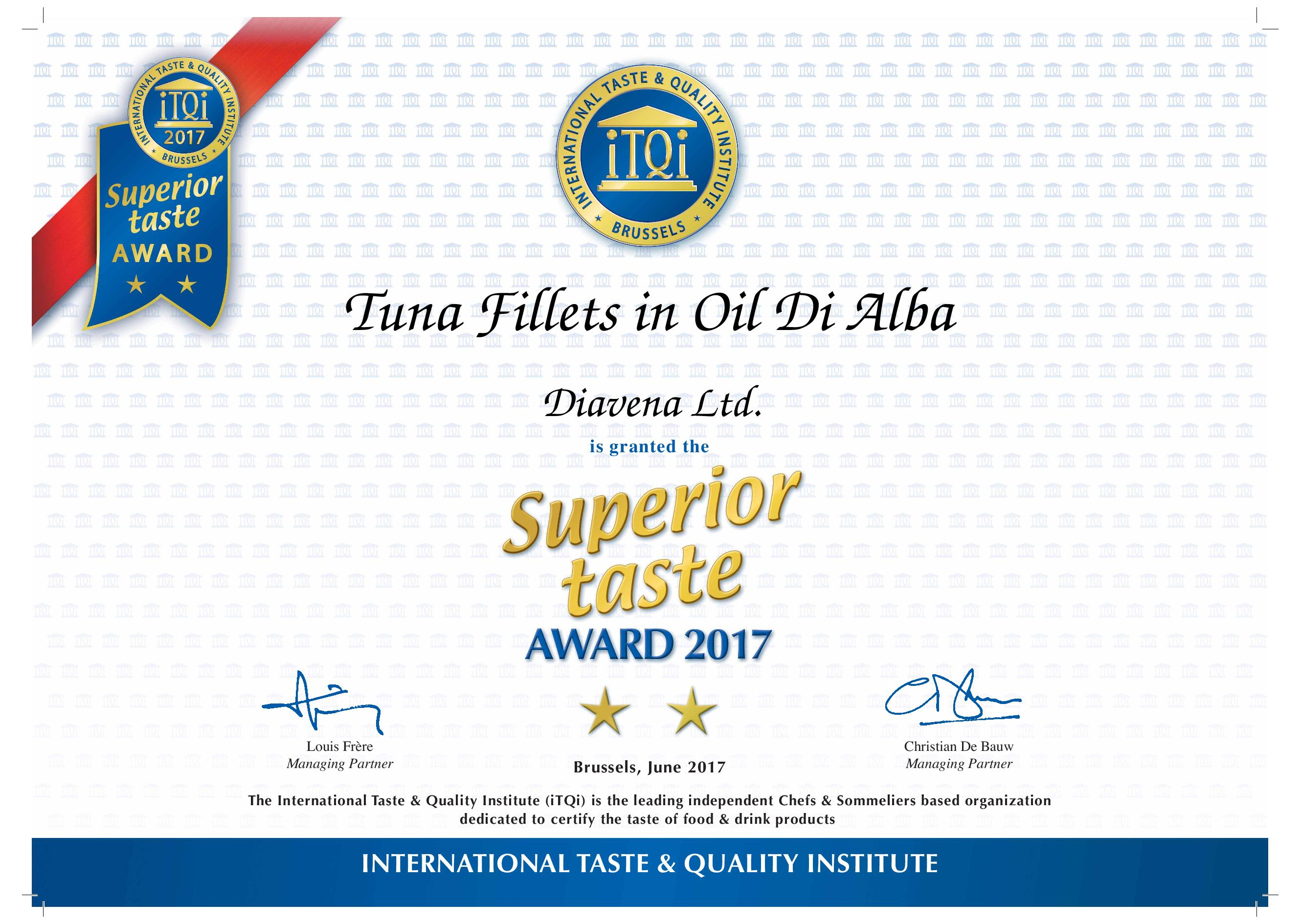 Fileuri de ton în Oil Di Alba - Premiul de gust superior - 2 Golden Stars